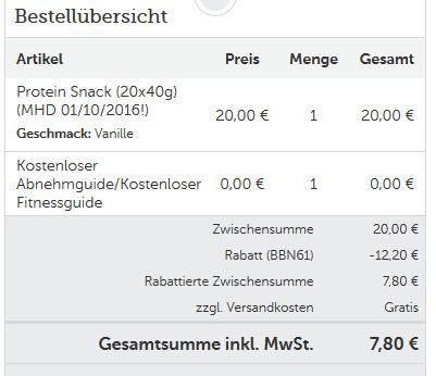 Protein Best Body Nutrition Protein Snack statt 26€ ab nur 7,80€
