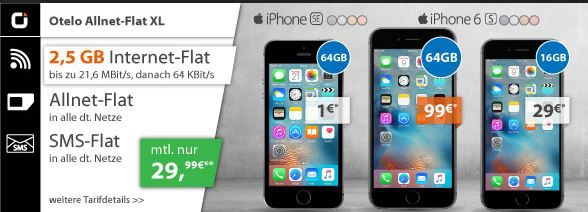 Apple iPhone 6s + Otelo Allnet + SMS Flat + 2,5 GB für 29,99€ mtl.