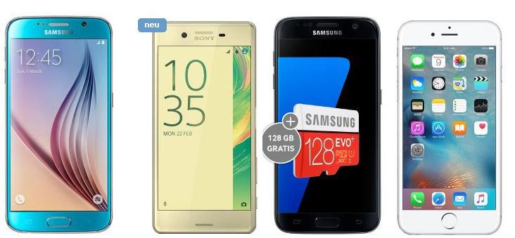 Samsung Galaxy S7 + 128GB microSD Karte + Allnet + SMS + 2,5GB Datenflat für 29,99€/mtl.
