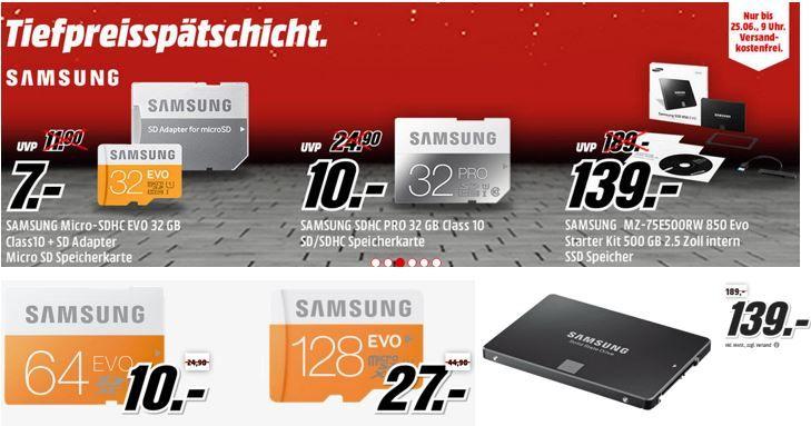 Samsung Speicher Speicherkarten, SSD und TV günstig in der Media Markt Samsung Tiefpreisspätschicht