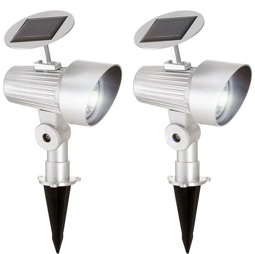 Solar LED Strahler Solar LED Strahler mit Erdspiess in silber 2er Set für nur 14,99€