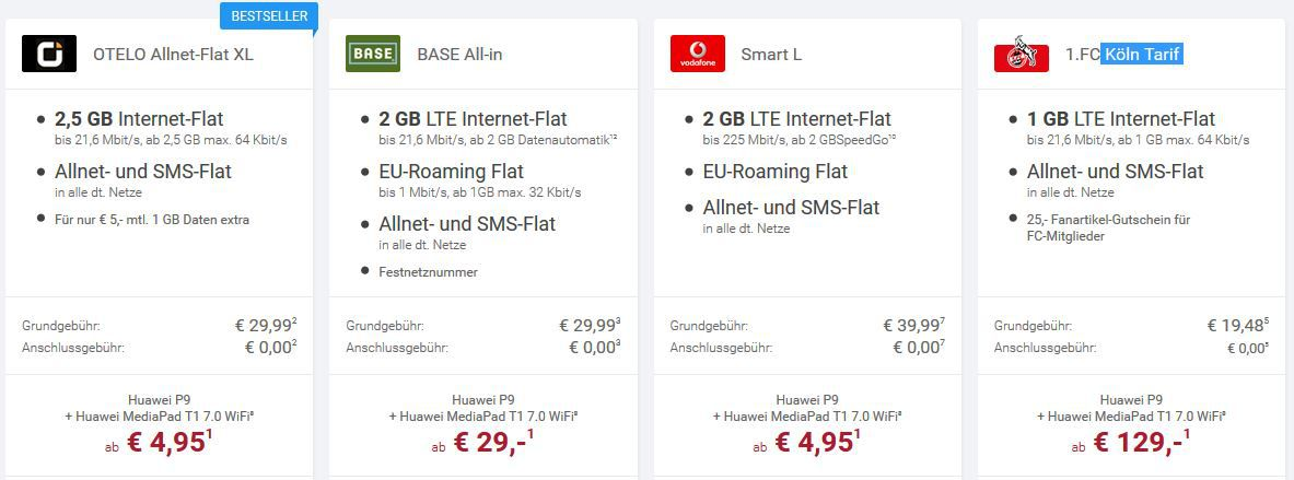 Tarif übersicht Huawei P9 Smartphone   MediaPad T1 7.0 WiFi mit AllNet Flat ab 19,48€/mtl.
