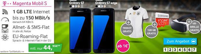 Telekom Magenta S Telekom Magenta S mit bis zu 2GB LTE + Samsung Galaxy S7 + 128GB Speicherkarte + EM Trikot ab 29,95€mtl.