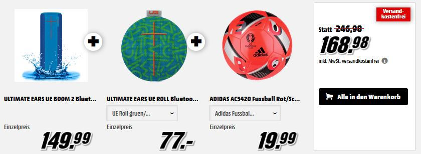 Ultimate Ears Ultimate Ears UE Boom 2 + Ultimate Ears UE Roll + Adidas Fußball für nur 168,98€