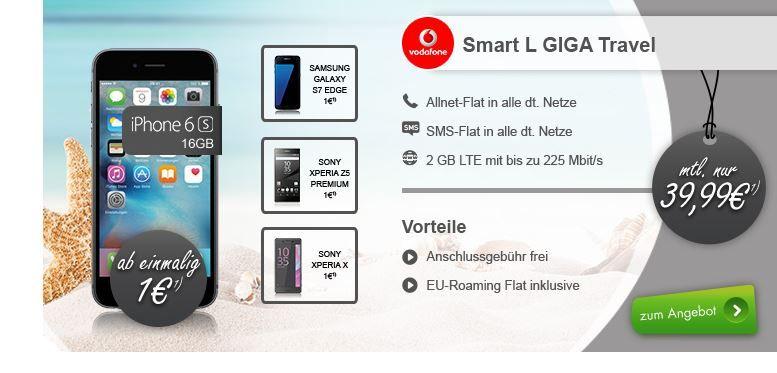 Apple iPhone 6S + AllNet + SMS Flat + 2GB (225 Mbit/s) LTE für 39,99€ mtl. auch andere Top Phones