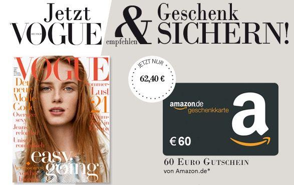 Vogue 12 Ausgaben Vogue für effektiv 2,40€ dank 60€ Amazon Gutschein