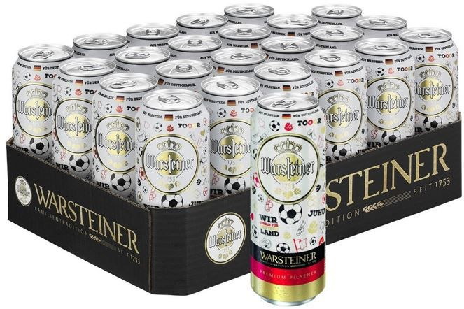 Warsteiner Premium Pilsener im limitierten EM Design (24 x 0.5 l) ab 13,99€