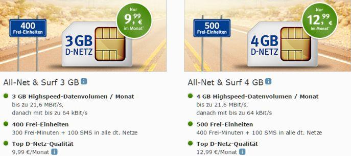 Web.de Allnet Tarife 1&1 All Net & Surf Special ab 6,99€/Monat   bis zu 400 Freieinheiten + 4 GB Internet