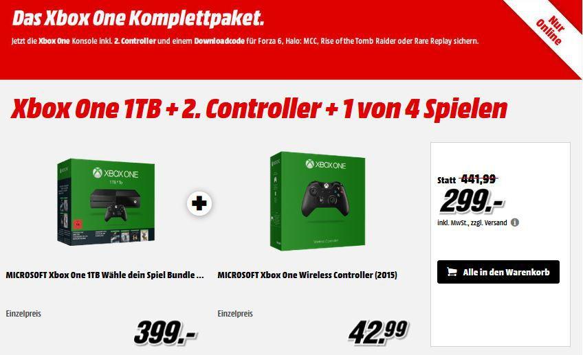 Xbox One 1TB + 2ten Controller + 1 von 4 Spielen ab nur 299€
