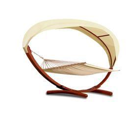 DEUBA Luxus Hängematte mit 2Personen Liegefläche, Holzgestell und Volldach für 129,95€