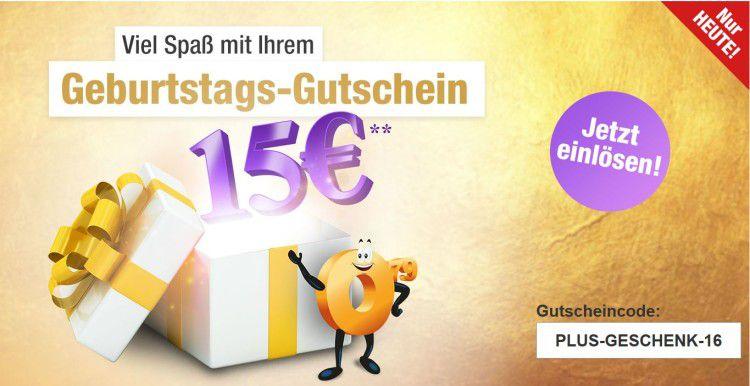 Plus.de mit 15€ Rabatt auf fast alles ab 80€   bis Mitternacht
