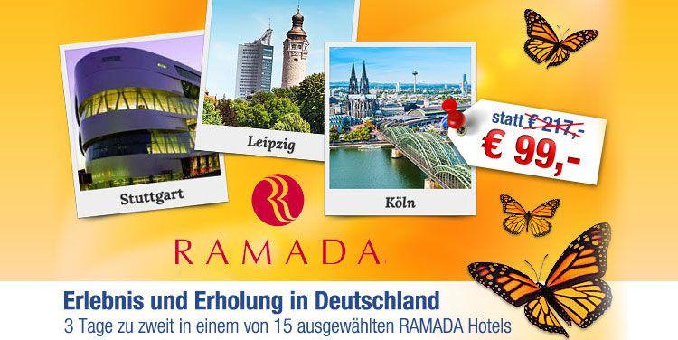 3 Tage für 2 Personen inkl. Frühstück in RAMADA & H+ Hotels in Deutschland nur 99 statt 217 EUR