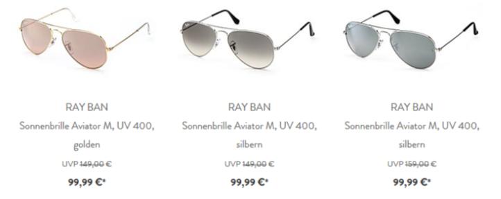 ray ban sonnenbrille aviator m uv 400 silbern