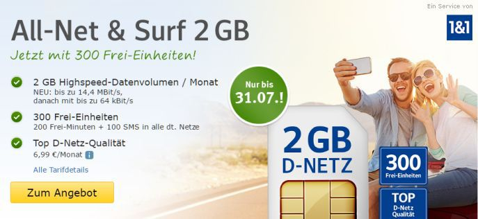 web.de Allnet Banner 1&1 All Net & Surf Special ab 6,99€/Monat   bis zu 400 Freieinheiten + 4 GB Internet