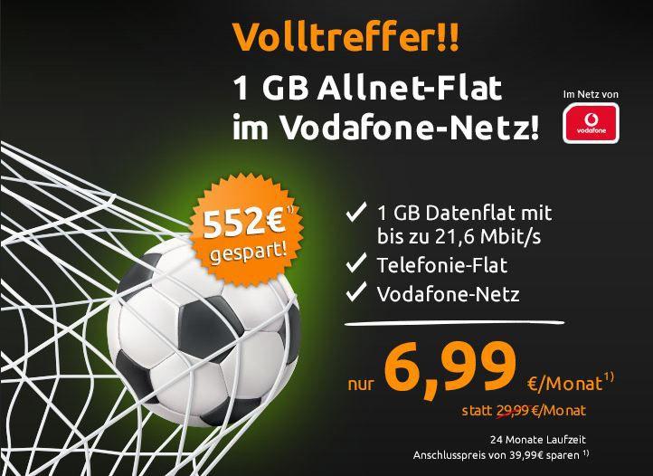 1 GB Allnet Flat Vodafone Allnet Flat + 1GB Daten für nur 6,99€ mtl.