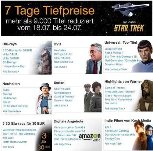 Amazon 7 Tage DVD und Blu ray Tiefpreise   z.B. Filme zum Leihen für 0,99€