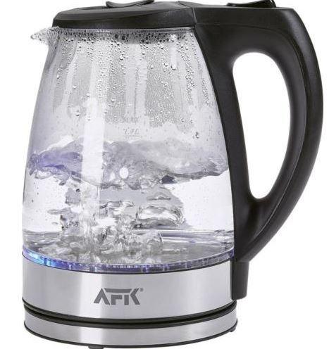 AFK Glas Wasserkocher 2200W AFK   1,7l LED Glas Wasserkocher für 14,99€