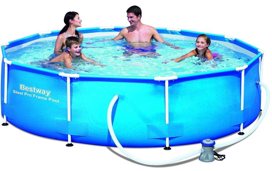Bestway Frame Pool Steel Pro Set   305 x 76 cm mit Pumpe für 82,90€