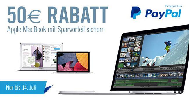 Apple Macbook kaufen und 50€ Rabatt dank Paypal Gutschein
