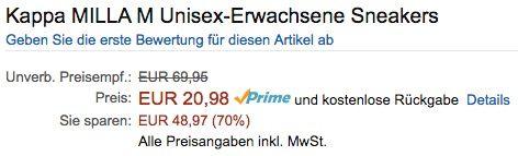 Kappa Milla M Unisex Sneaker ab 20,98€ (statt 50€)