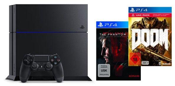 Playstation 4 + Metal Gear Solid 5 + Doom inkl. UAC Pack für 299€ (statt 390€)