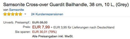 Samsonite Cross over Guardit Bailhandle für 11,94€ (statt 29€)