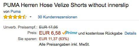 Puma Velize Shorts ab 6,58€ (statt 11€)