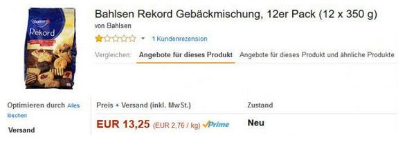 Bildschirmfoto 2016 07 19 um 15.30.04 Preisfehler ? 12er (12x 350g) Pack Bahlsen Rekord Gebäckmischung für 13,25€ inkl. VSK