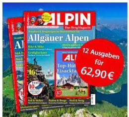 """Jahresabo (12 Ausgaben) der Zeitschrift """"Alpin"""" für 62,90€ + 50€ Prämie für geworbene Leser"""