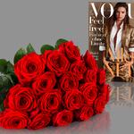 Miflora Blumenstrauß – 20 Red Naomi Rosen + 2 Ausgaben Vogue für 19,90€