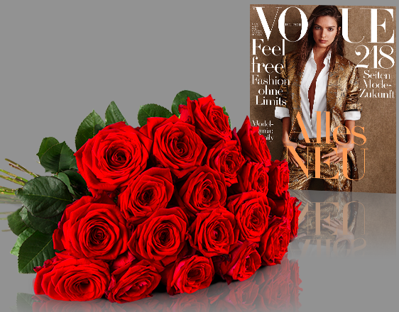 Bildschirmfoto 2016 07 29 um 11.06.56 Miflora Blumenstrauß   20 Red Naomi Rosen + 2 Ausgaben Vogue für 19,90€