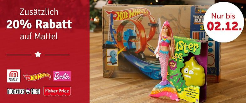 Bildschirmfoto 2016 12 02 um 12.59.07 20% Rabatt auf Mattel Artikel (Fisher Price, Barbie, Hot Wheels & mehr) bei myToys + 5€ Gutschein