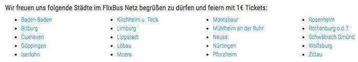 Nur 10.000 Stück: Flixbus Tickets für 1€   nur für die neuen Städte!