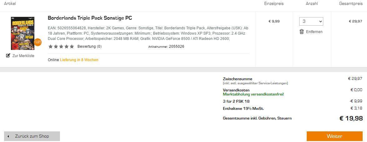 Borderlands Triple Pack (Steam Keys) für nur 9,99€ (oder 3x für 19,98€)