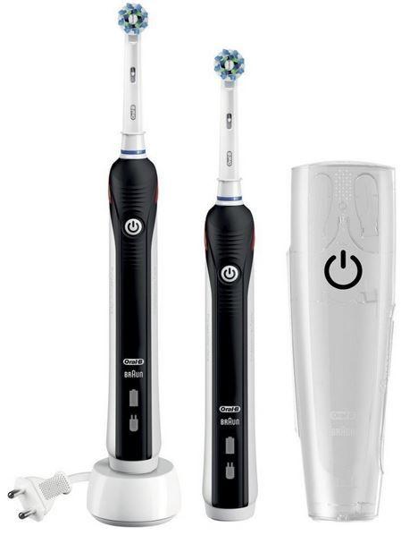 Braun Oral B Pro 1900 Braun Oral B Pro 1900   eZahnbürste mit 2 Handstücken Black Edition für effektiv 44,93€