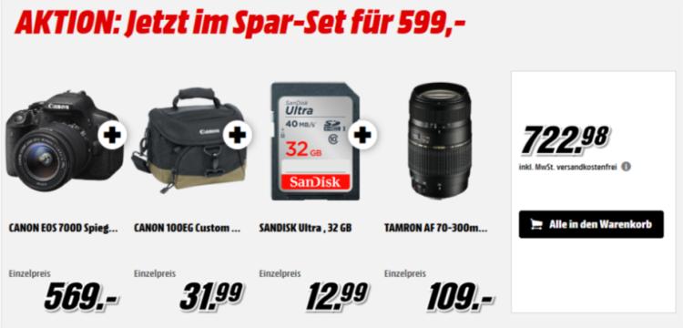 Canon 700D Bundle e1471087250335 Canon EOS 700D   DSLR Kamera + 18 55mm + 70 300mm Objektiv + Tasche + 32GB SDKarte für 599€