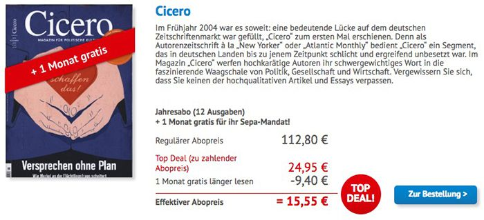 Cicero 12 Ausgaben Cicero Autorenzeitschrift für 24,95€