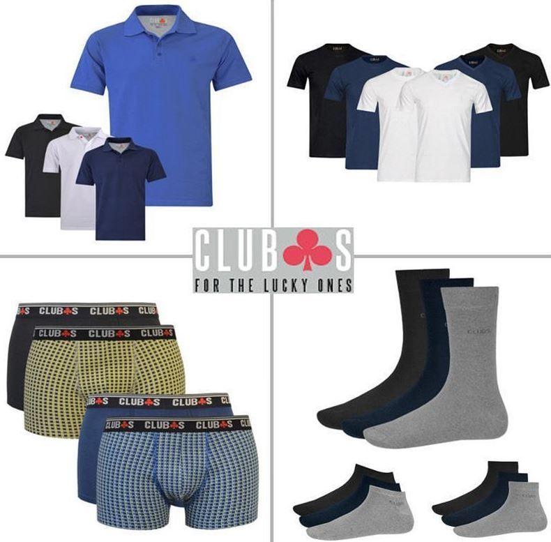 CLUB´s Herren Poloshirt, 2er Pack T Shirts, 2er Pack Boxer oder 8er Pack Socken für je 4,99€