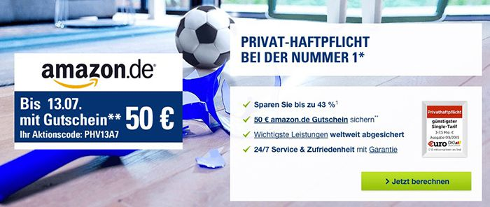 Nur heute! CosmosDirekt Privathaftpflicht ab 25,53€ + 50€ Amazon.de Gutschein   KNALLER!
