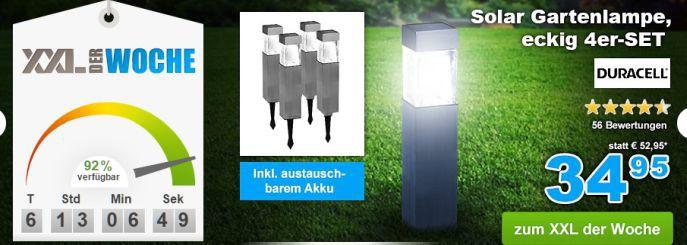 Duracell Lampen Nur heute: 10% Rabatt auf alles bei GartenXXL   z.B. 4x Duracell Solar Gartenlampen für nur 31,46€