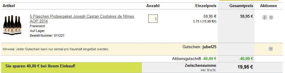 Ebrosia Gutschein Preisfehler? Costières de Nîmes AOP 2014 Joseph Castan   5 Flaschen für nur 19,95€