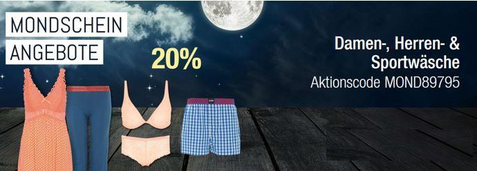 Galeria Angebote 26.07.2016 20% auf Damenwäsche, Herrenwäsche und Sportwäsche   Galeria Kaufhof Mondschein Angebote