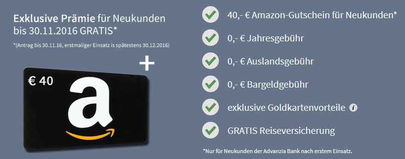 Kostenlose Mastercard Gold + 40€ Amazon Gutschein   Neukunden
