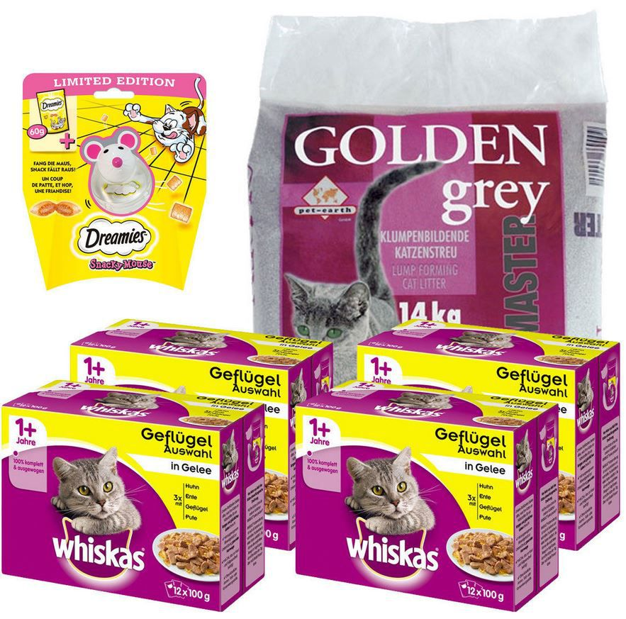 Katzenfutter günstig Whiskas Sparpack Katzenfutter + Golden Grey Katzenstreu + Dreamies Katzensnack für 23,90€