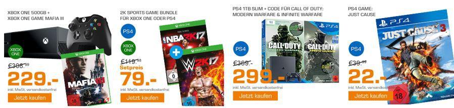 Konsolen Bundle Angebote SONY PlayStation 4 1TB Slim + 2x Call Of Duty für 299€ und mehr günstige Angebote im Saturn Weekend Sale