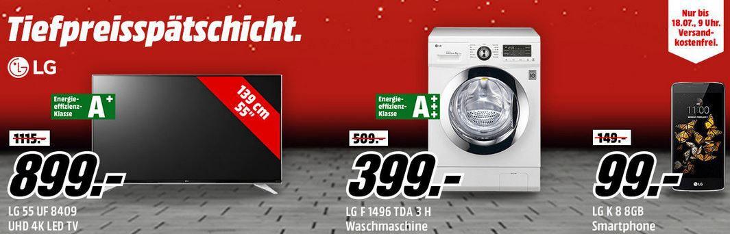 LG Tiefpreisspätschicht Smartphones, TVs und Haushaltsgeräte günstig in der Media Markt LG Tiefpreisspätschicht