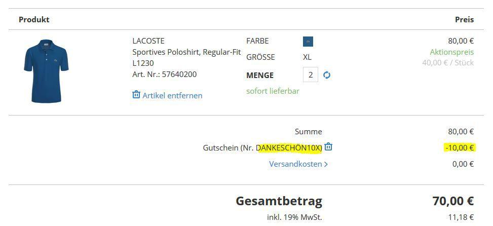Lacoste Hirmer Aktion 2er Pack Lacoste Poloshirts für 75,95€ (statt 120€)