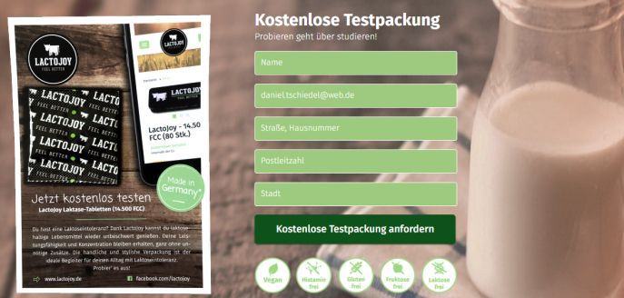 Testpackung LactoJoy gratis anfordern   hilft bei Laktoseintoleranz