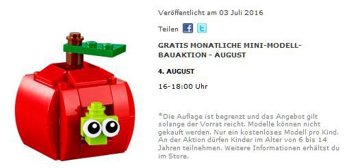Gratis Lego Apfel – nur am 04.08. in teilnehmenden Lego Stores