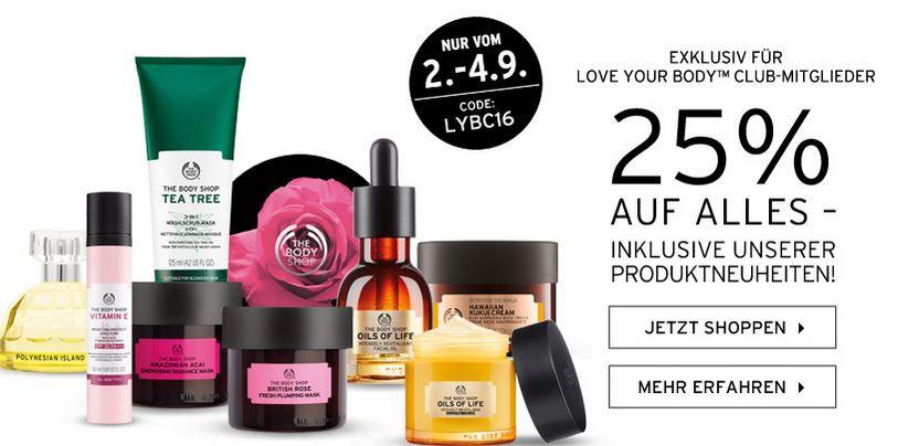Love your Body Club The Body Shop mit 25% Rabatt auf alles   auch im Sale